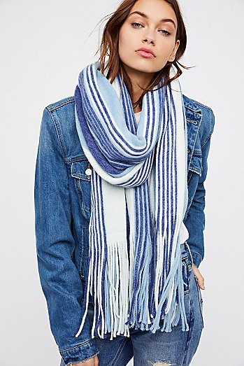 Kolby Striped Fringe Scarf
