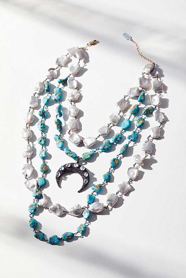 Slide View 4: Turquoise x Pearl Layered Moonstone Necklace