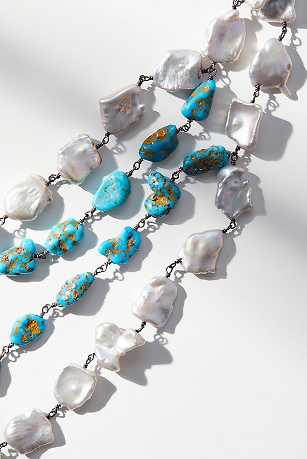 Slide View 3: Turquoise x Pearl Layered Moonstone Necklace