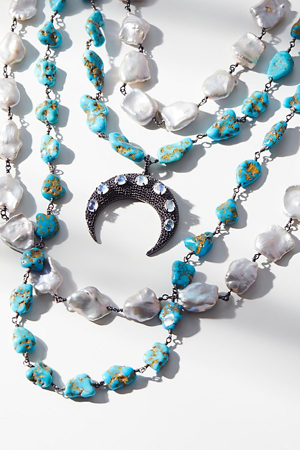 Slide View 1: Turquoise x Pearl Layered Moonstone Necklace
