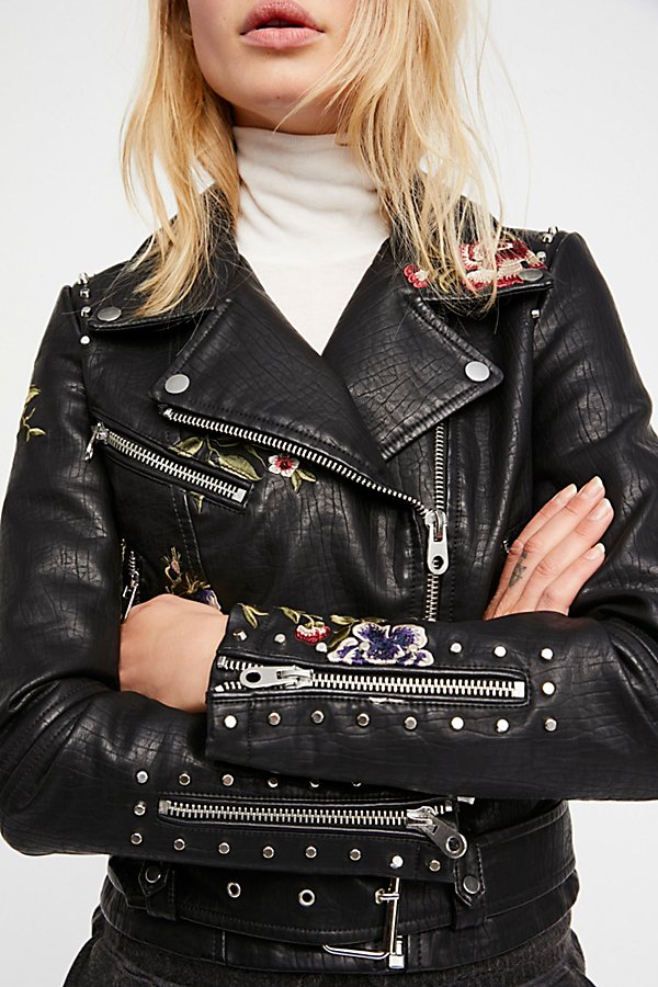 Slide View 2: Faux Leather Embroidered Moto Jacket