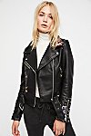 Thumbnail View 3: Faux Leather Embroidered Moto Jacket