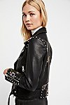 Thumbnail View 5: Faux Leather Embroidered Moto Jacket