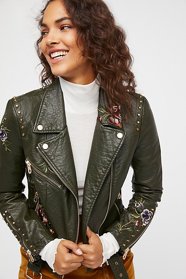 Slide View 1: Green Faux Leather Embroidered Moto