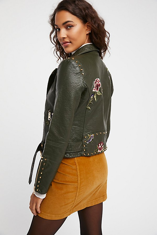 Slide View 2: Green Faux Leather Embroidered Moto