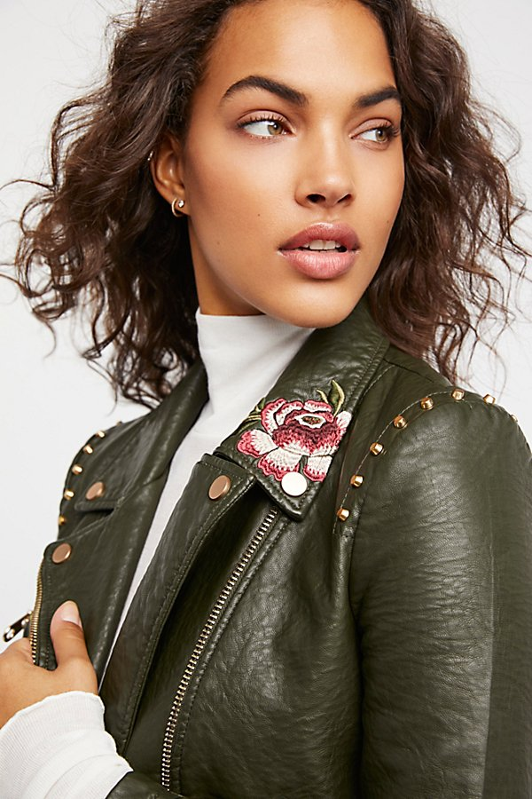 Slide View 3: Green Faux Leather Embroidered Moto