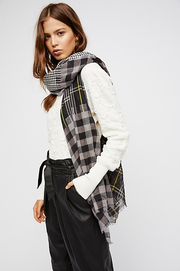 Slide View 1: Check Yourself Patchwork Plaid Scarf