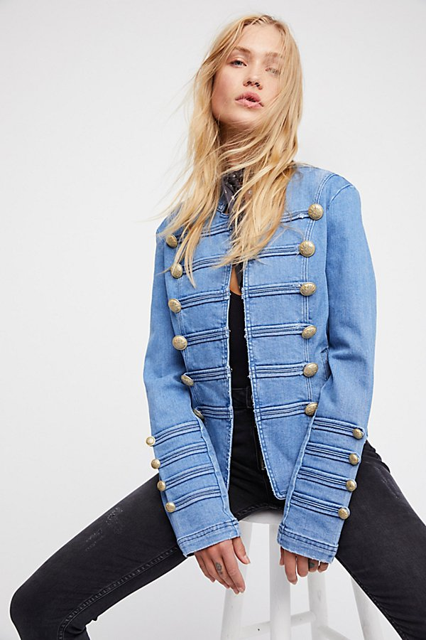 Slide View 1: Fitted Military Denim Jacket