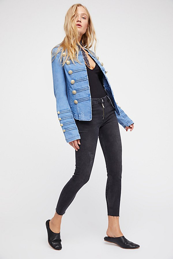 Slide View 4: Fitted Military Denim Jacket