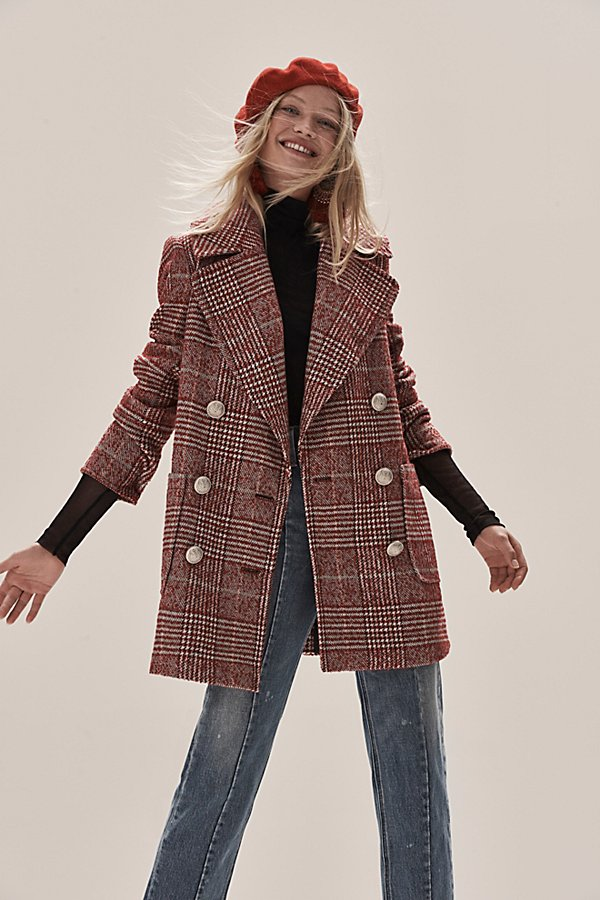 Slide View 1: Naiomi Check Peacoat