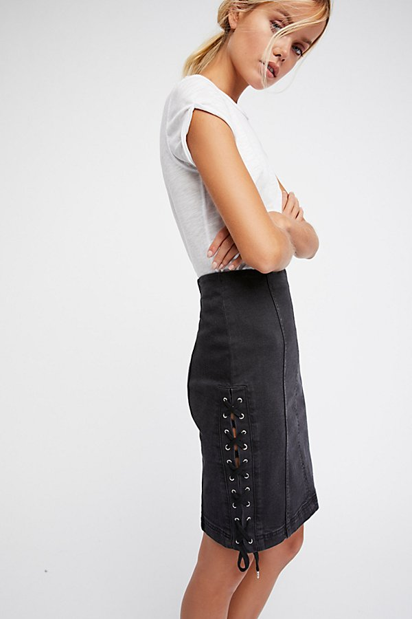 Slide View 1: Denim Lace-Up Skirt
