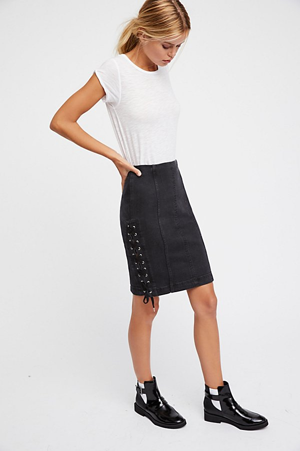 Slide View 2: Denim Lace-Up Skirt