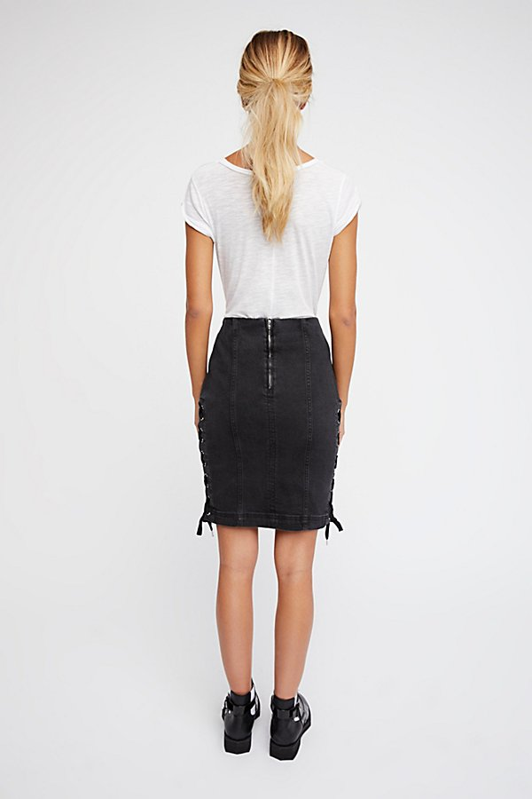 Slide View 3: Denim Lace-Up Skirt