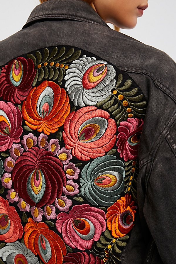 Slide View 4: Oversized Embroidered Denim Jacket