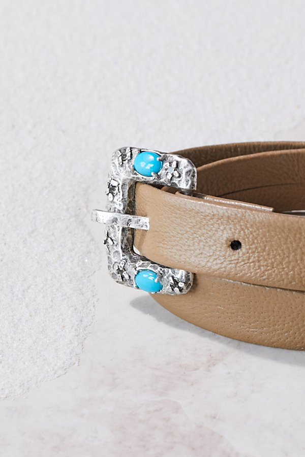 Slide View 1: Swarovski Buckle Leather Wrap Cuff