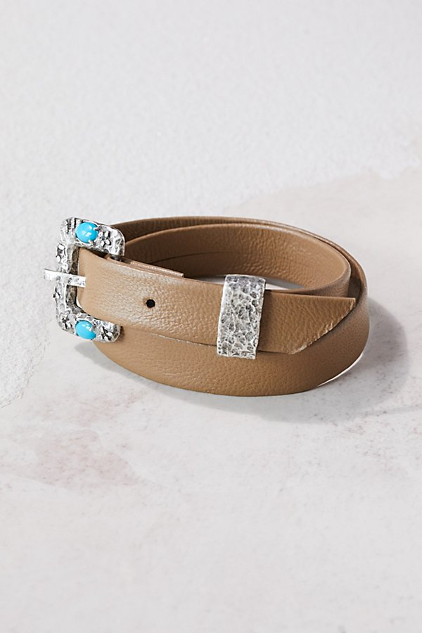 Slide View 2: Swarovski Buckle Leather Wrap Cuff
