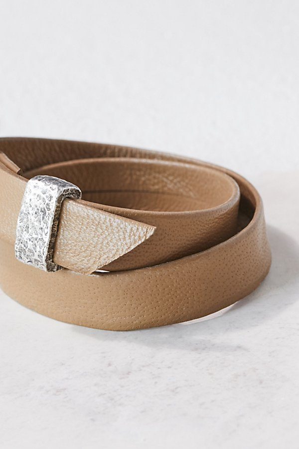 Slide View 3: Swarovski Buckle Leather Wrap Cuff