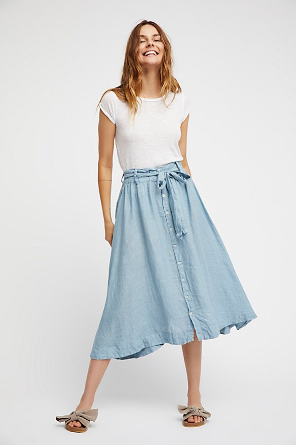 Slide View 1: Tie Front Midi Skirt