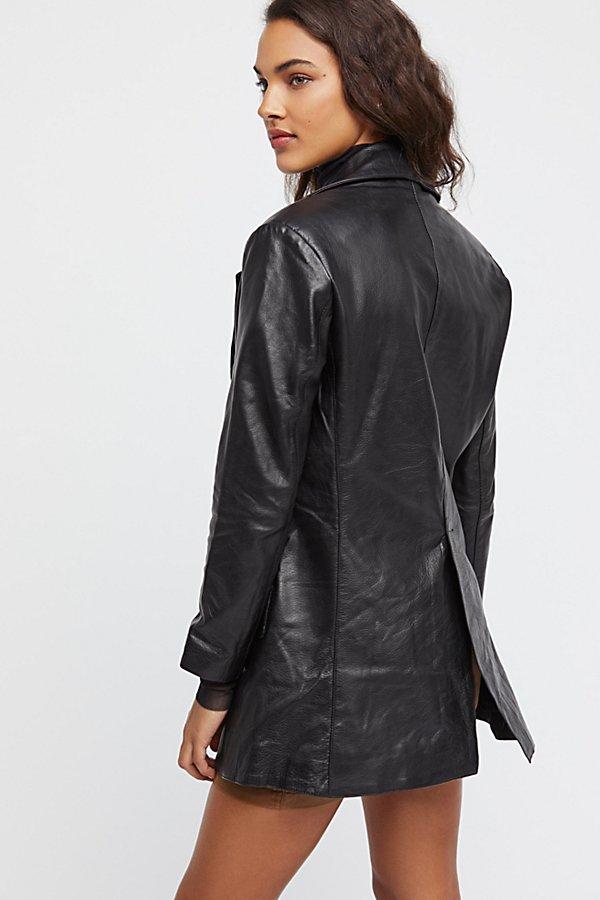 Long Leather Blazer | Free People