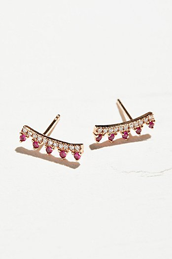 14k Ruby & Diamond Maiden Ear Climbers