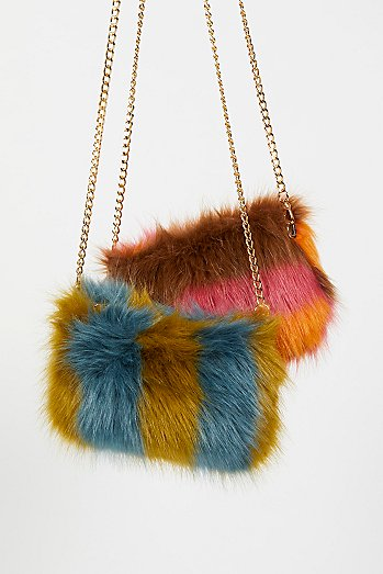 Striped Faux Fur Crossbody