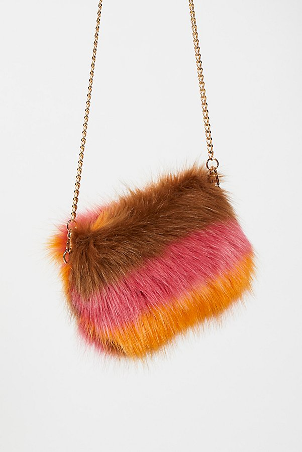 Slide View 2: Striped Faux Fur Crossbody