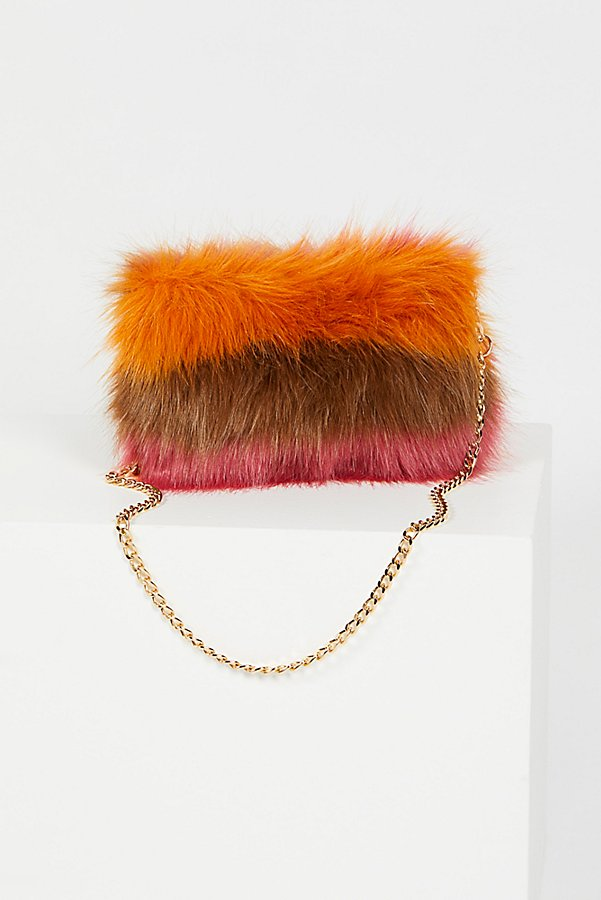 Slide View 4: Striped Faux Fur Crossbody