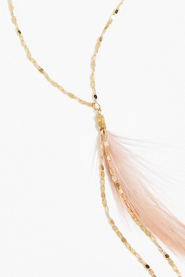 Slide View 3: Glistening Delicate Feather Necklace