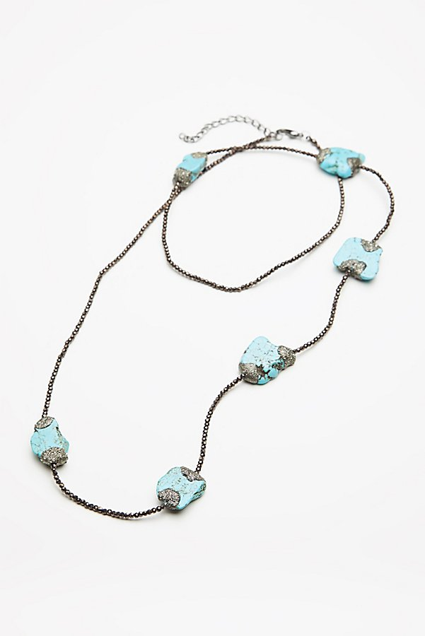 Slide View 1: Pyrite x Turquoise Layering Necklace
