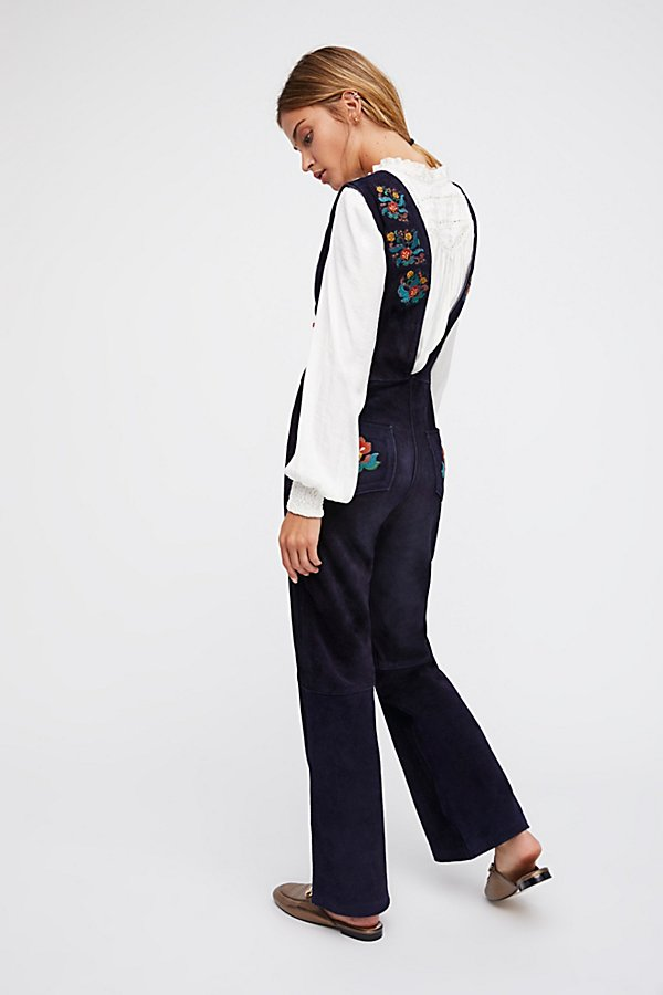 Slide View 2: Embroidered Suede Jumpsuit