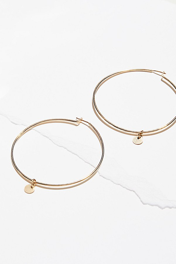 Slide View 1: 14k Gold Fill Coin Hoops