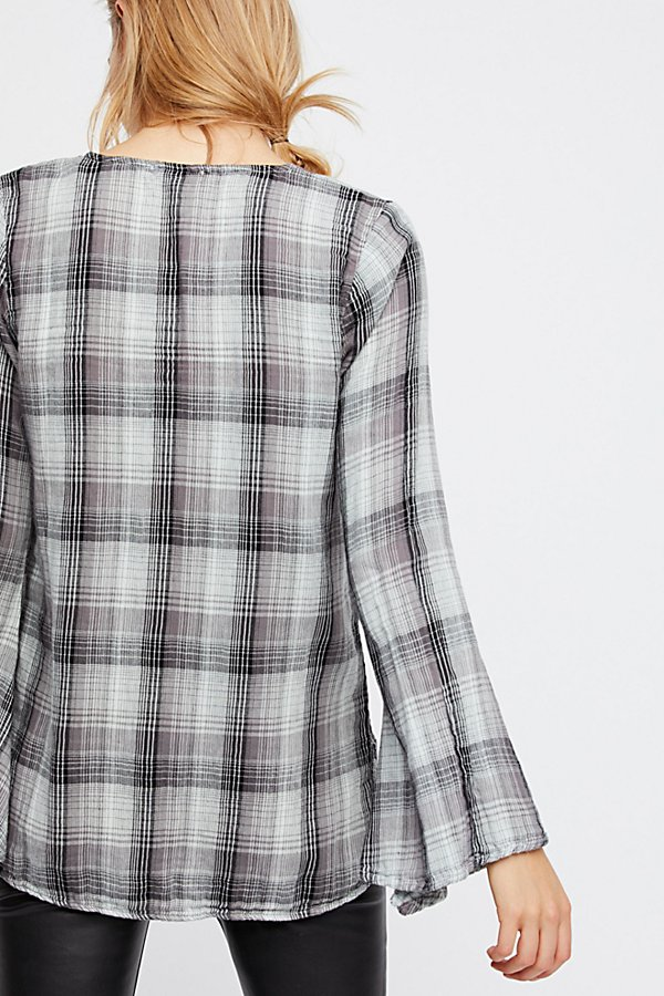 Slide View 2: Mia Bell Sleeve Plaid Top