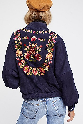 Floral Suede Bomber