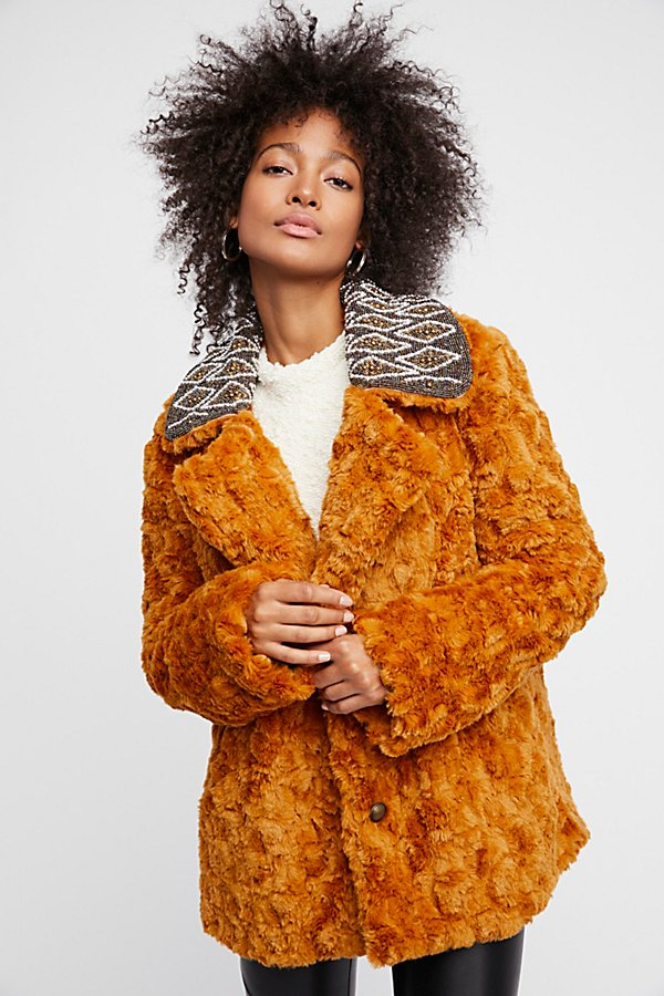 Slide View 3: Embroidered Faux Fur Coat