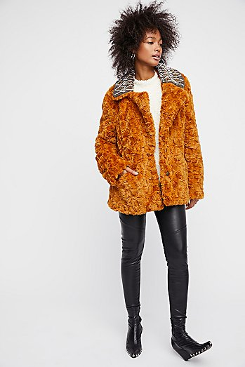Embroidered Faux Fur Coat