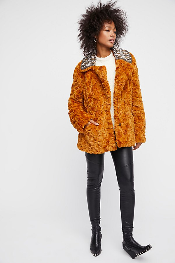 Slide View 1: Embroidered Faux Fur Coat
