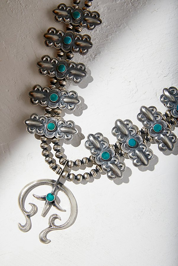 Slide View 1: Turquoise Squash Blossom Necklace