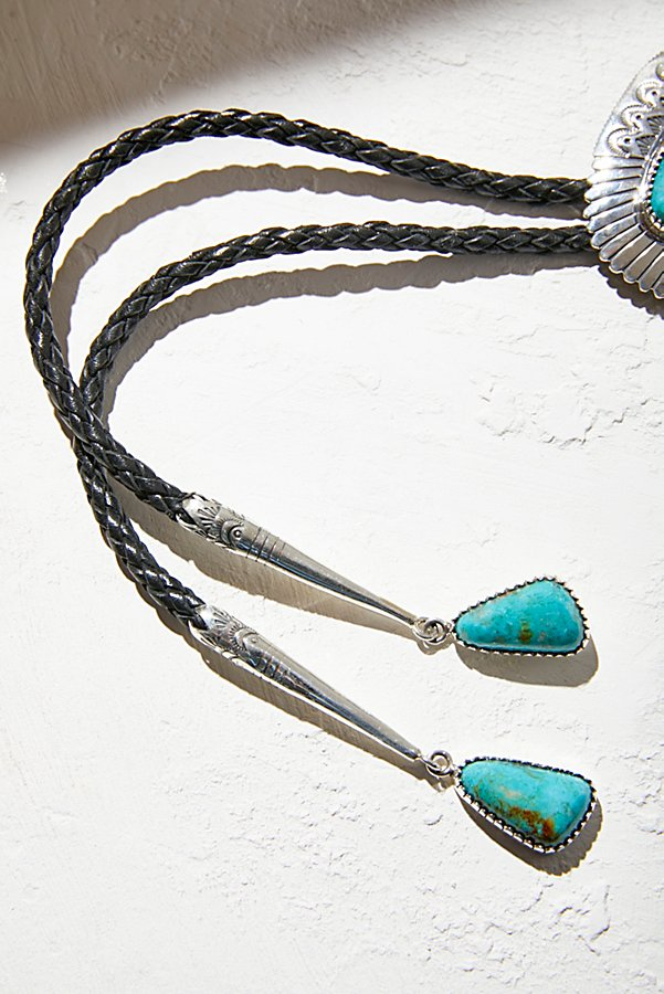 Slide View 4: Sterling Turquoise Leather Bolo