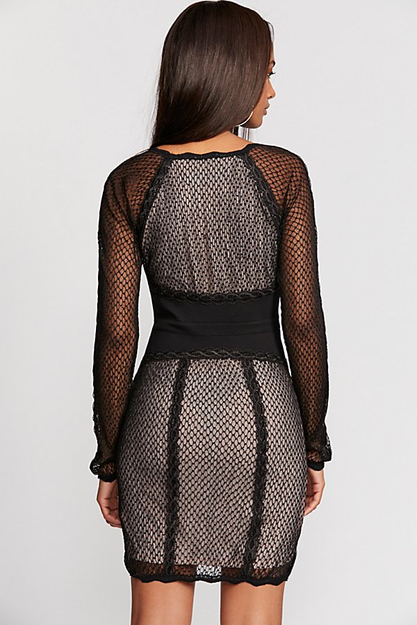 Slide View 2: Mixed Mesh Bodycon