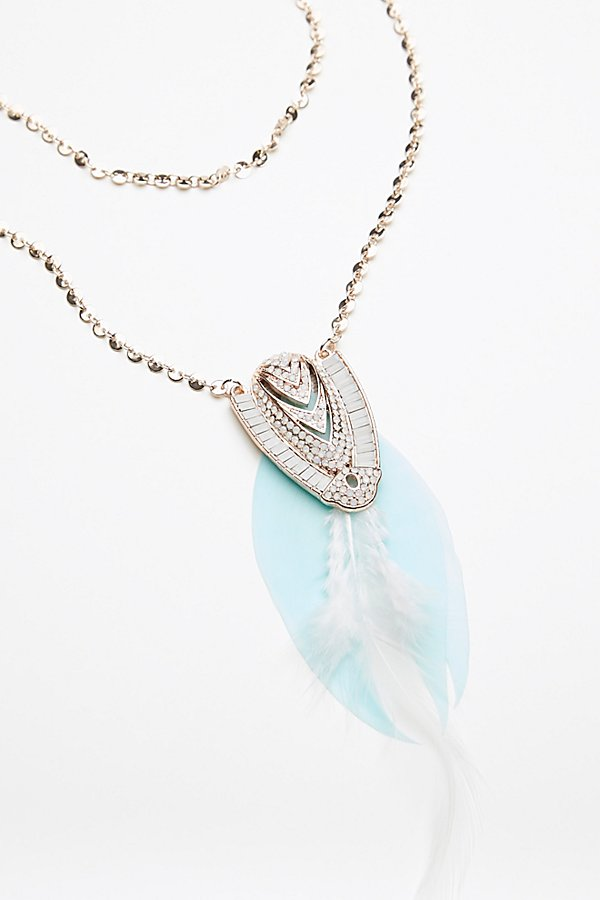 Slide View 2: Coin Chain Feather Pendant
