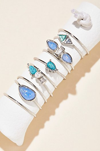 Delicate Opal Ring Set of 10