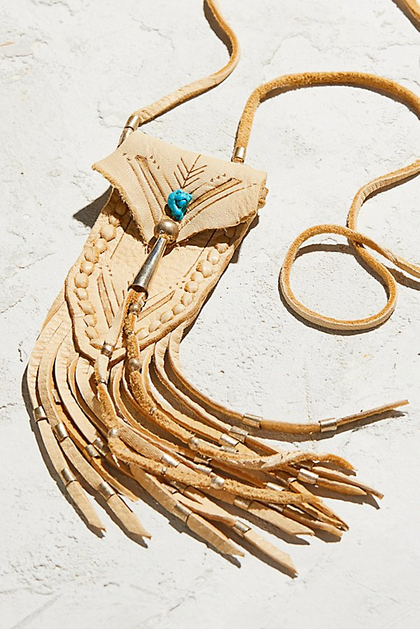 Slide View 2: Turquoise & Leather Medicine Bag Necklace