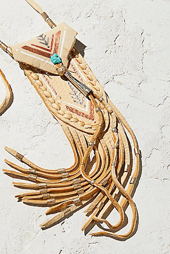 Turquoise & Leather Medicine Bag Necklace