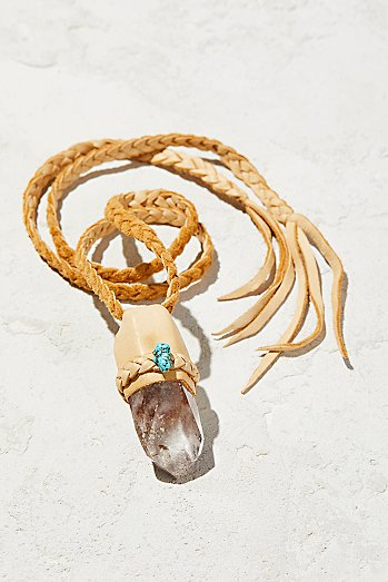 Phantom Turquoise Leather Quartz Pendant