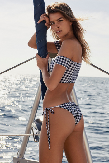Slide View 2: Gingham Rose Bikini Top