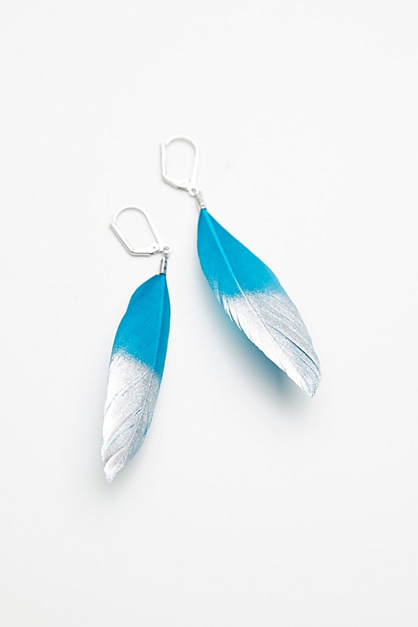 Slide View 2: Metallic Dipped Feather Earrings