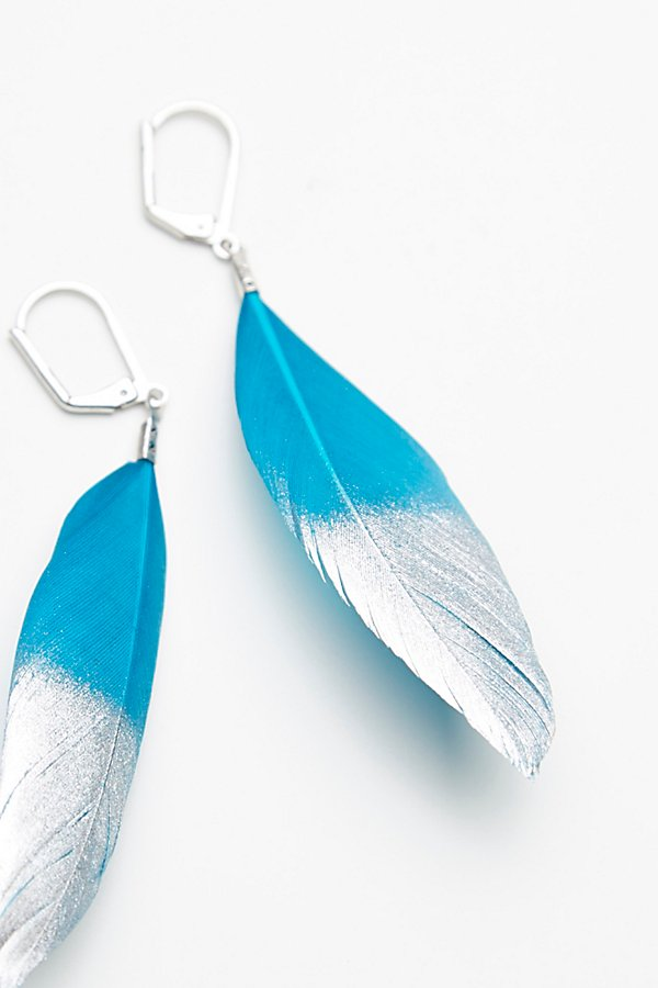 Slide View 3: Metallic Dipped Feather Earrings