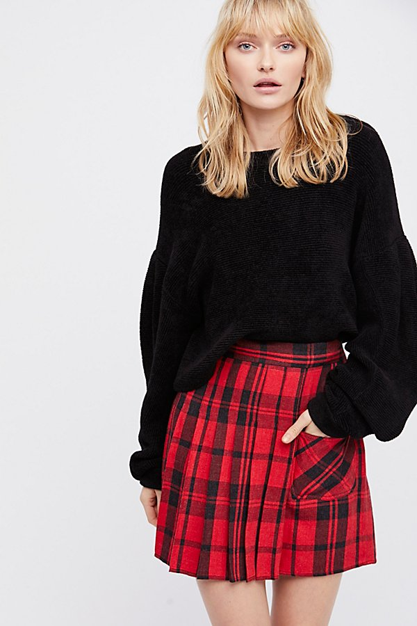 Slide View 1: Plaid Mini Skirt