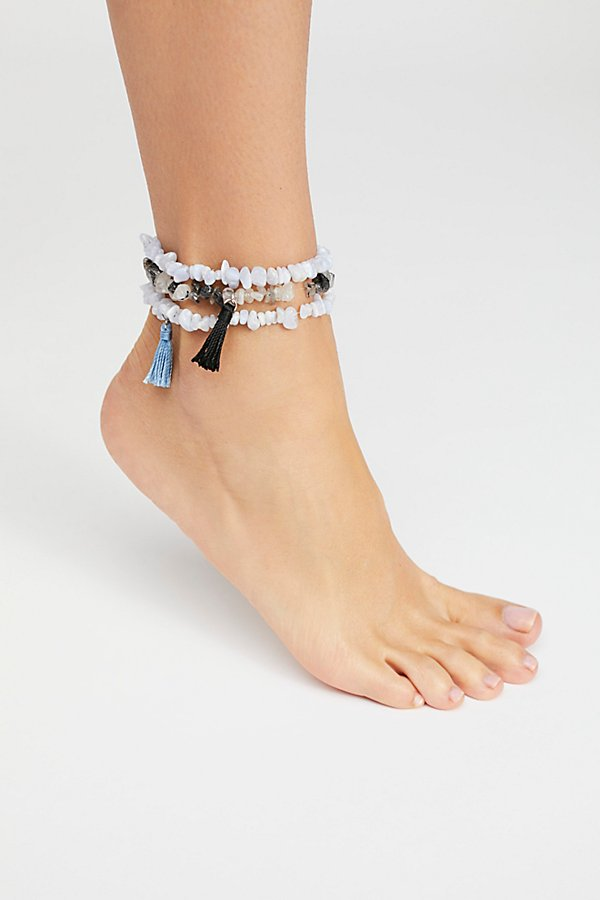 Slide View 1: Raw Stone Anklet Set