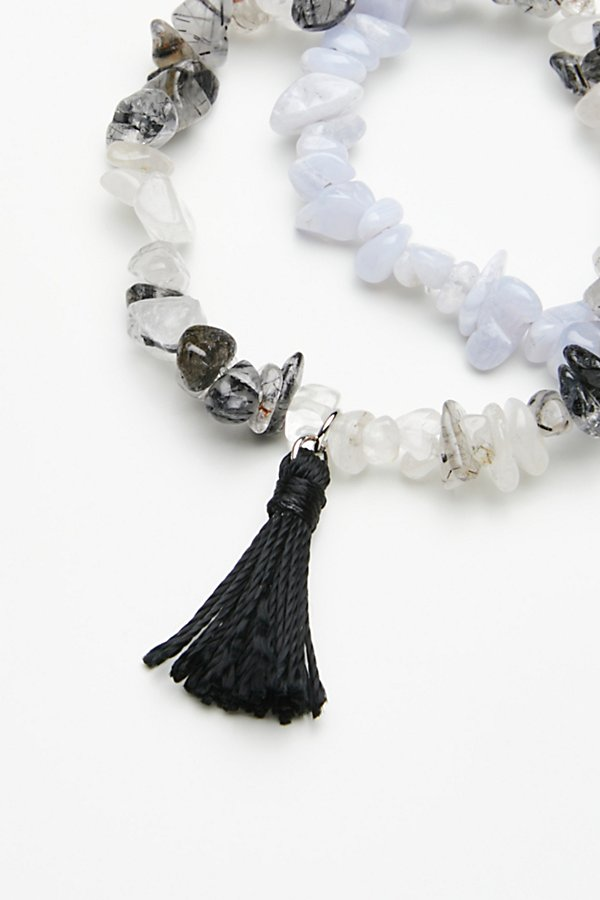 Slide View 3: Raw Stone Anklet Set